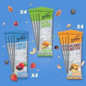 RiteBite Assorted Nutrition Sugarless Bar (Peanut Butter-40g x 4 Bar;Fruit & Seed-35g x 4 Bar;Nut & Seeds-35g x 4 Bar) Pack of 12
