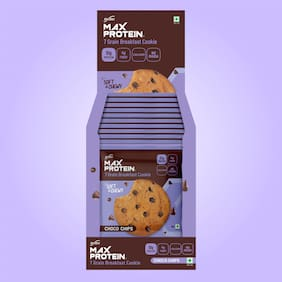 RiteBite Max Protein Cookies  Choco Chips 55g x 12 Pouch (Pack of 1)