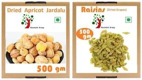 Rockishii Combo Regular Green Raisins Premium 500gm  & Dried Apricots Jardalu Khubani Premium 500gm  (Pack of 2)