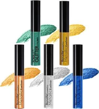 Ronzille Combo Of 5 Waterproof Shimmer Metallic Glitter Eyeliner 2.5ml(Pack of 5)