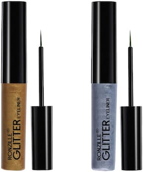 Ronzille glitter Eyelinear Gold & Silver 5ml(Pack of 2)