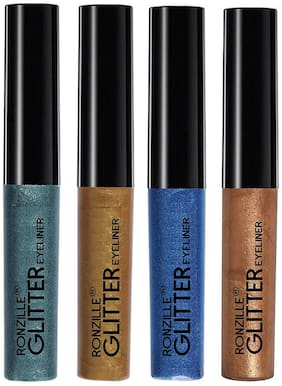 Ronzille Glitter Eye Liner  Multi-Colored (4ml Each)(Pack Of 4)