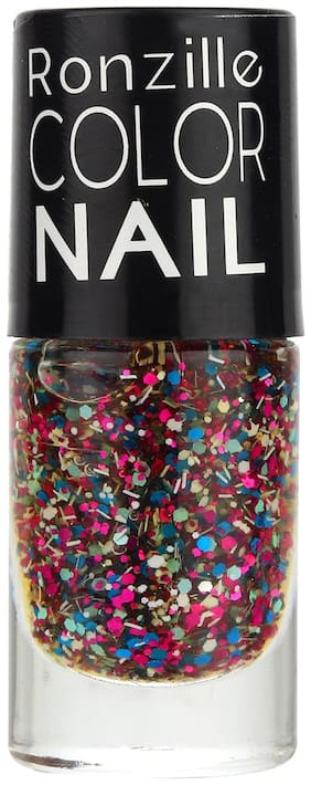 Ronzille High-Shine Glitter Long Lasting Non Toxic Professional Nail Polish Periwinkle Spring (Magenta) 6ml