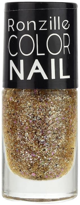 Ronzille High-Shine Glitter Long Lasting Non Toxic Professional Nail Polish Shimmer Flecked Salmon (Brown) 6ml