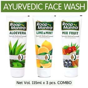 Roop Mantra Face Wash Combo (Aloevera + Lime & Mint + Mix Fruit) 115ml Each - For Men & Women