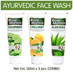 Roop Mantra Face Wash Combo (Cucumber + Lime & Mint + Aloevera) 115ml Each - For Men & Women