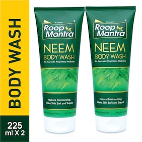 Roop Mantra Neem Body Wash 225 ml Pack of 2 Natural Moisturizing Make Skin Soft & Supple Parabens Free