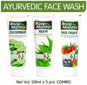 Roop Mantra Face Wash Combo(Cucumber + Neem + Mix Fruit) 115ml