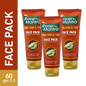 Roop Mantra Multani D TAN Face Pack 60g, Pack of 3