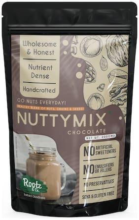 Rootz & Co. Choco Nutty Mix - Nut Powder with Cereals & Chia for Health Drink/Smoothies/Nutritious Dessert - 200g (Pack Of 1)