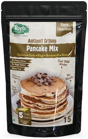 Rootz & Co Healthy Pancake Mix -Ancient Grains + Dark Chocolate with Choco Chips - Gluten Free & Multigrain - No Maida No Sugar 300g (Pack Of 1)