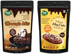 Rootz & Co Instant Double Chocolate Brownie Mix and Chocolate Cake Mix MugCake Premix Oats/Millets and 100% Whole Wheat No Maida or Added Sugar 300g (Pack Of 2)