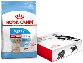 Royal Canin Medium Puppy Dry Dog Food 4Kg with Free Starter Kit
