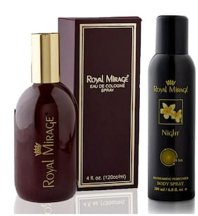 Royal Mirage Eau De Cologne Original, 120ml + Body Spray Night, 200ml (Pack of 2)