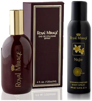 Royal Mirage Eau De Cologne Original, 120ml + Body Spray Night, 200ml (Pack of 2)