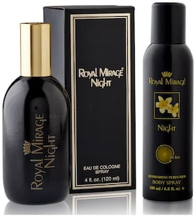 Royal Mirage Eau De Cologne Spray Night 120ml  and  Royal Mirage Body Spray Night 200ml