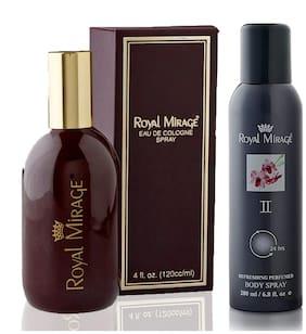 Royal Mirage Eau De Cologne Original, 120ml + Body Spray II, 200ml (Pack of 2)
