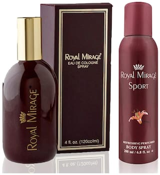 Royal Mirage Eau De Cologne Original, 120ml + Body Spray Sport, 200ml (Pack of 2)
