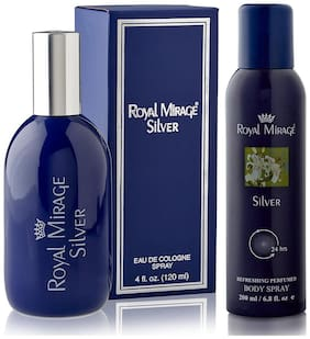 Royal Mirage Eau De Cologne Spray Silver 120ml  and  Royal Mirage Body Spray Silver 200ml