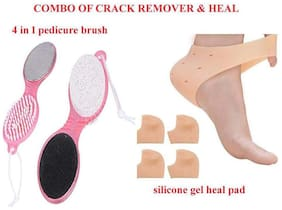 ROYALDEAL BY 100% BEST QUALITY COMBO SET OF Silicone Gel Heel Pad Socks for Heel Swelling Pain Relief Dry Hard Cracked Heels Repair & 4 in 1 Foot File with Pedicure and Manicure Brush