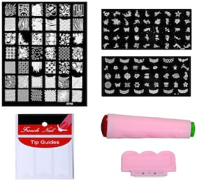 Royalkart Nail Art Combo Kit With 2pcs Small Stamping Image Plates(to-03,09), 1pc Large Stamping Image Plate(xy15) & French Manicure Finger Tip Guide