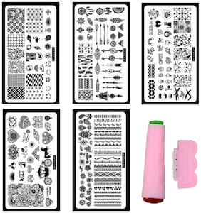 Royalkart, Nail Art Stamping Kit With Jumbo 5 Image Plates (COCO1,2,3,7,12 Plate) With Double-sided Stamper & Scraper