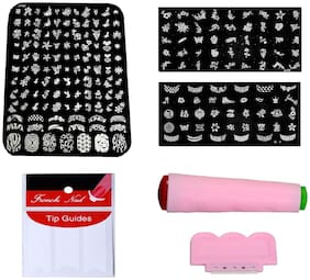 Royalkart Nail Art Combo Kit With 2pcs Small Stamping Image Plates(to-03,09), 1pc Large Stamping Image Plate(xy02) & French Manicure Finger Tip Guide