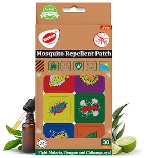 RunBugz Mosquito Repellent Printed Boom Patches for Babies 30 Patches (Pack of 1)