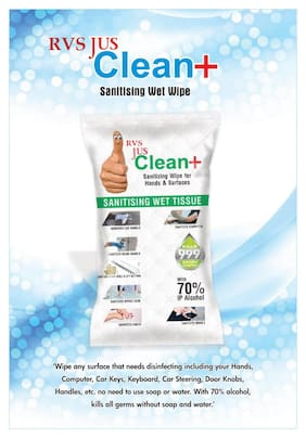RVS Disinfecting Sanitizing Wet Tissue for Car Handle/Door Handle/Stairs Grill/Lift Button/Office Desk/Computer/Mobile/Hand etc.(Single Tissue Pack for more Hygiene) (50 Wipes) (Pack of 1)