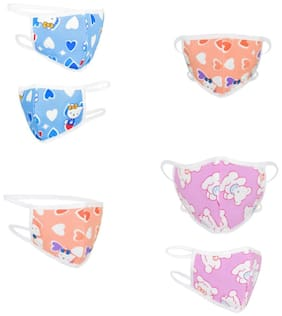 RVS Washable & Reusable Mask for Kids(Blue & Pink Colour) (Pack of 6) Cloth Mask With Melt Blown Fabric Layer  (Blue, Pink, Orange Free Size)