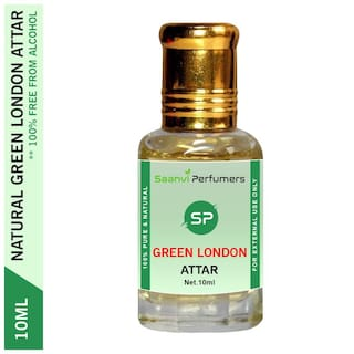 Saanvi Perfumers Green London Attar For Modern Men & Women Alcohol Free Perfume Oil With Roll On Easy To Apply Floral Attar (Floral) Pack of 1 10ml