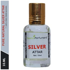 Saanvi Perfumers Silver Attar For Men and Women Modern Attar Itra Scent Natural Fragrance Oil Perfume Oil 0% Alcohol With Modern Fragrance 10ml (Pack Of 1)