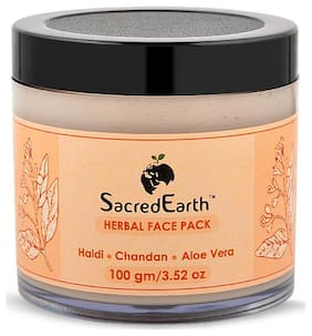SacredEarth Herbal Face Pack - With Haldi, Chandan and Aloe Vera-100g