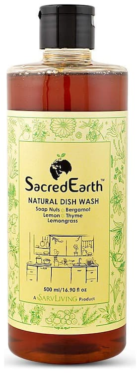 SacredEarth Natural Dish Wash Liquid - With Soap Nuts, Aloe Vera, Lemon, Mint, Lemongrass, Thyme, Bergamot   500ml
