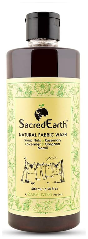 SacredEarth Natural Fabric Liquid Wash - With Soap Nuts, Aloe Vera, Lavender, Neroli, Ylang, Rosemary, Oregano -500ml