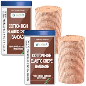 Safent Cotton High Elastic Bandage - 3 Inch (breadth 7.5cm x length 450Cm) (Pack Of 2)