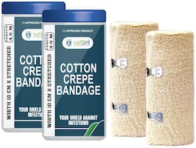 Safent Cotton Crepe Bandage - 4 Inch (breadth 10cm x length 450Cm) (Pack Of 2)