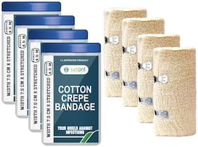 Safent Cotton Crepe Bandage - 3 Inch (breadth 7.5cm x length 450Cm) (Pack Of 4)