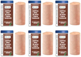 Safent Cotton High Elastic Bandage - 4 Inch (breadth 10cm x length 450Cm) (Pack Of 6)