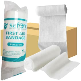 Safent First Aid Bandage - 3.5 Inch (breadth 8cm x length 400Cm) (Pack Of 8)
