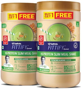 Saffola FITTIFY Gourmet HI PROTEIN SLIM MEAL-SHAKE Pistachio & Almond 420g (12 servings) (Buy 1 Get 1 Free)