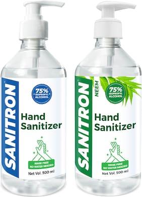 SANITRON Hand Sanitizer Liquid with 75% Pharma Grade Isopropyl Alcohol (IPA)   Neem & Unscented   Pump Bottle   500ml (1 Litre) - Pack of 2