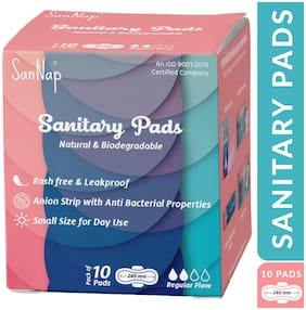SanNap Anion Anti Bacterial Biodegarable Sanitary Pads (small) for Day use. (10 Pads)