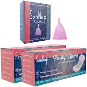 Sannap Fda Approved Menstrual Cup (Medium) & Anion Anti Bacterial Panty Liners (50) (Pack of 3)