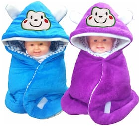 Satpal Baby Blanket With Hood (Pack of 2)