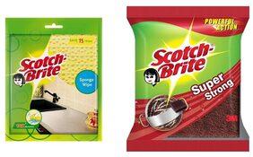 Scotch Brite Super Strong & Wipe Combo (Super Strong Powerful Action (L) Sponge Wipe (L) - Set of 3pcs)