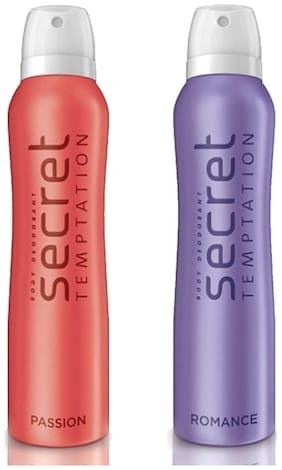Secret Temptation Romance and Passion Deodorant for Women, 150 ml each, Pack of 2