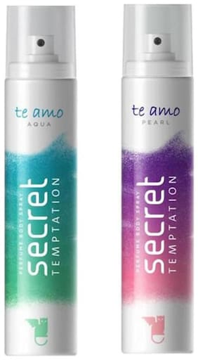 Secret Temptation Te Amo Aqua And Pearl Combo Pack 2 Deodorant Spray - For Women (240 ml Pack of 2)