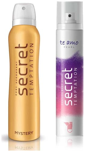 Secret Temptation Mystery and Te Amo Pearl , Deodorant and Body Perfume for women (150 ml+120 ml )