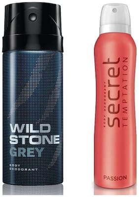 Secret Temptation Passion Deodorant For Women and Wild Stone Grey Deodorant for Men (150 ml each);Pack of 2